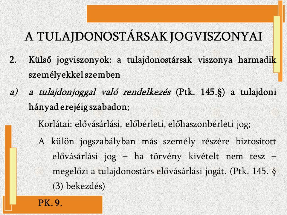 2.Külső jogviszonyok: a tulajdonostársak viszonya harmadik személyekkel szemben a)a tulajdonjoggal való rendelkezés (Ptk. 145.§) a tulajdoni hányad er