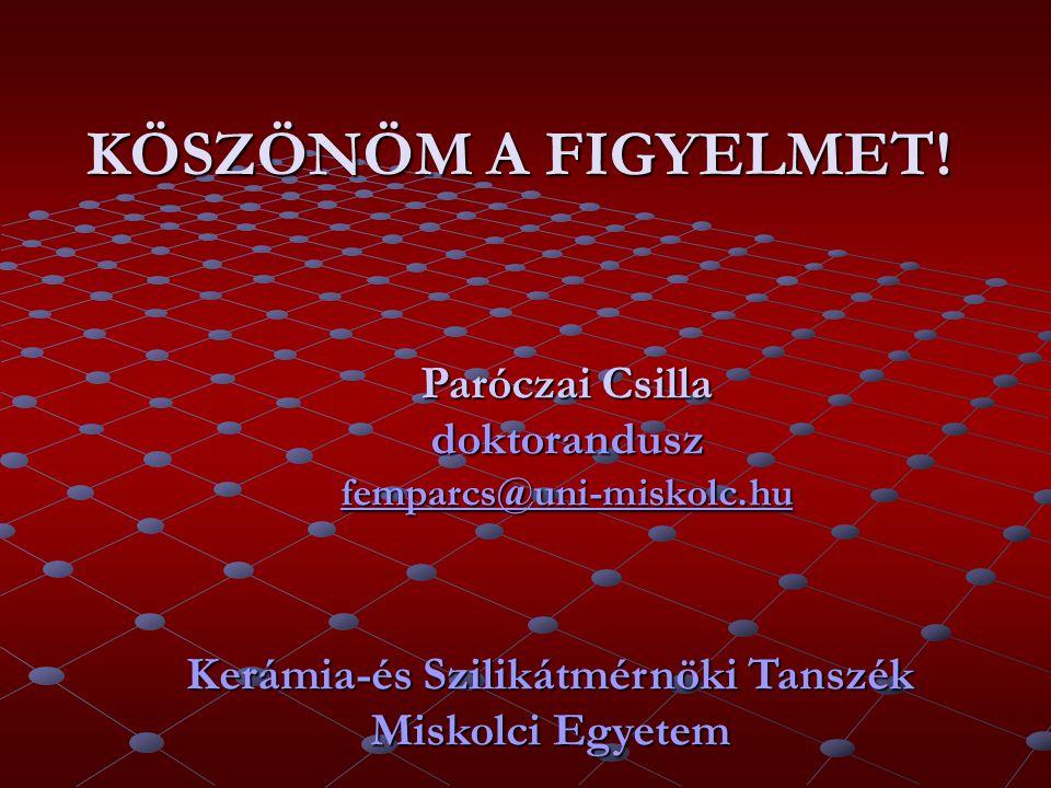 KÖSZÖNÖM A FIGYELMET! Paróczai Csilla doktorandusz femparcs@uni-miskolc.hu femparcs@uni-miskolc.hu Kerámia-és Szilikátmérnöki Tanszék Miskolci Egyetem