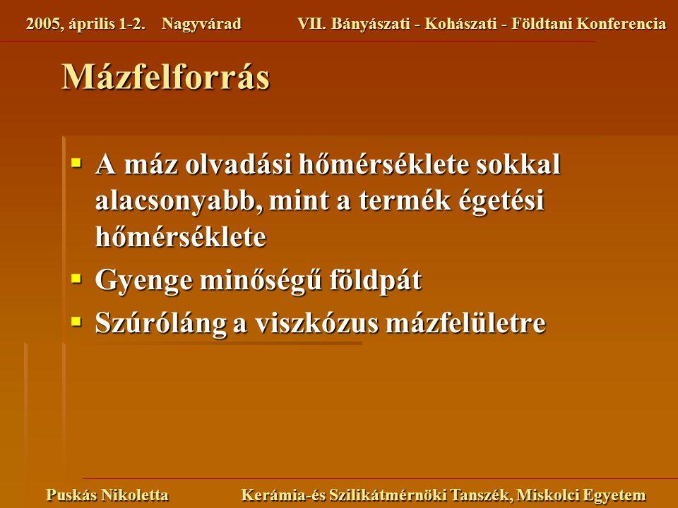 2005, április 1-2. NagyváradVII. Bányászati - Kohászati - Földtani Konferencia Puskás Nikoletta Kerámia-és Szilikátmérnöki Tanszék, Miskolci Egyetem M