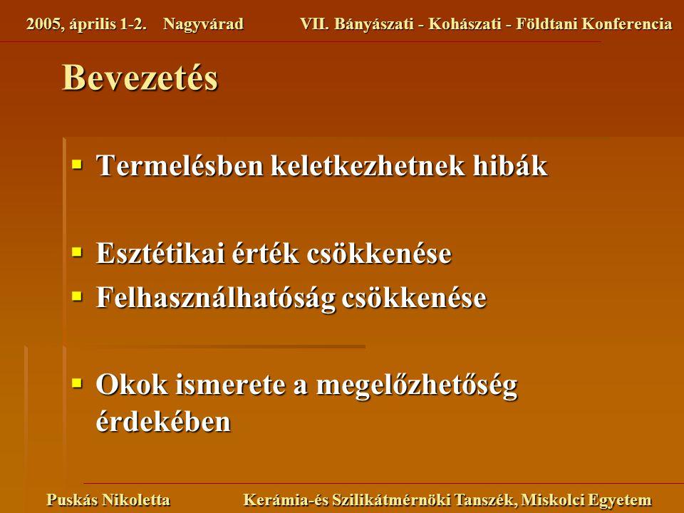 2005, április 1-2. NagyváradVII. Bányászati - Kohászati - Földtani Konferencia Puskás Nikoletta Kerámia-és Szilikátmérnöki Tanszék, Miskolci Egyetem B