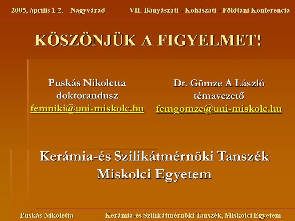 2005, április 1-2. NagyváradVII. Bányászati - Kohászati - Földtani Konferencia Puskás Nikoletta Kerámia-és Szilikátmérnöki Tanszék, Miskolci Egyetem K