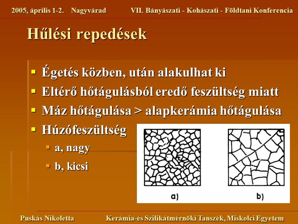 2005, április 1-2. NagyváradVII. Bányászati - Kohászati - Földtani Konferencia Puskás Nikoletta Kerámia-és Szilikátmérnöki Tanszék, Miskolci Egyetem H