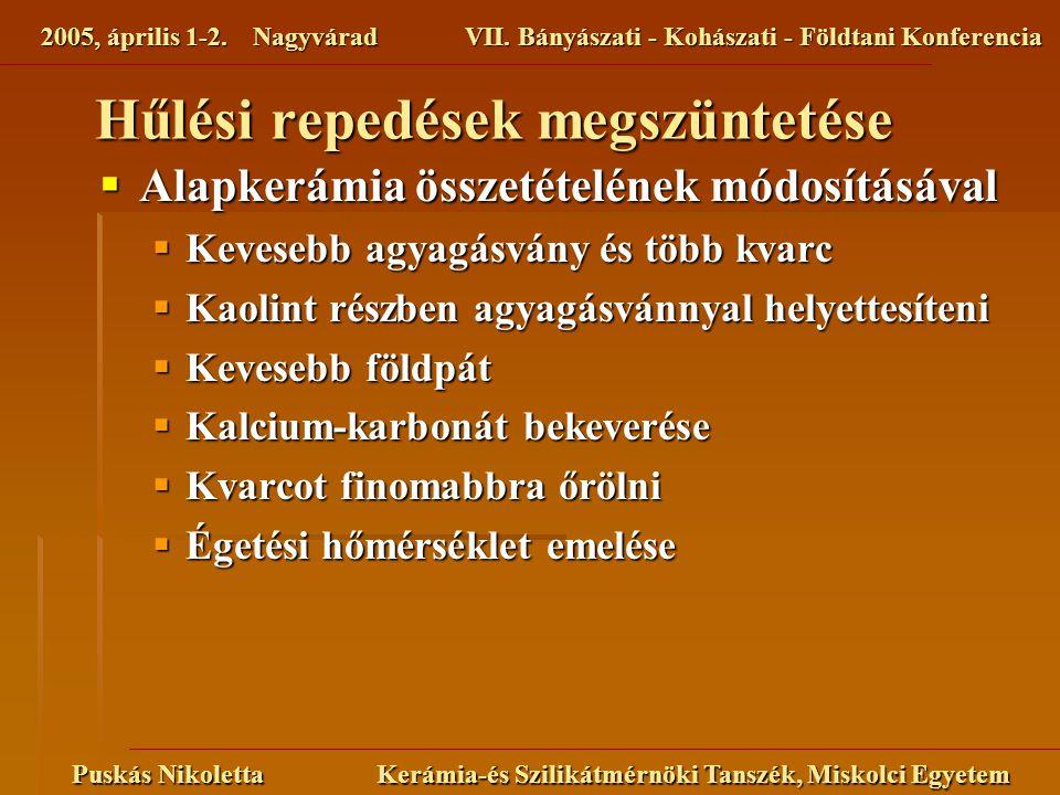 2005, április 1-2. NagyváradVII. Bányászati - Kohászati - Földtani Konferencia Puskás Nikoletta Kerámia-és Szilikátmérnöki Tanszék, Miskolci Egyetem 