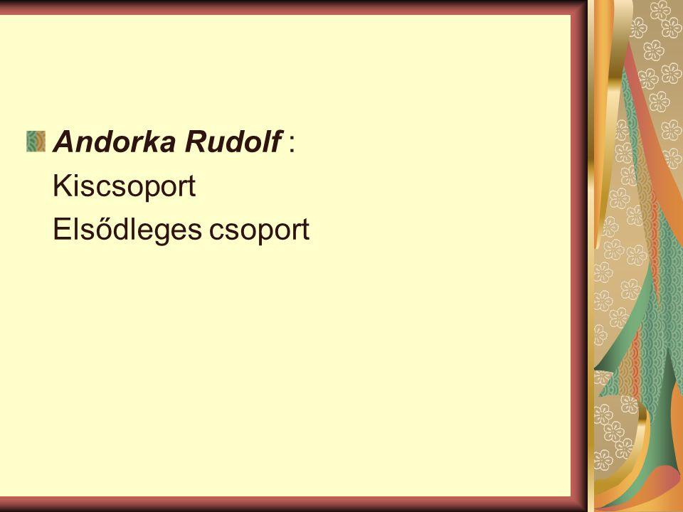 Andorka Rudolf : Kiscsoport Elsődleges csoport