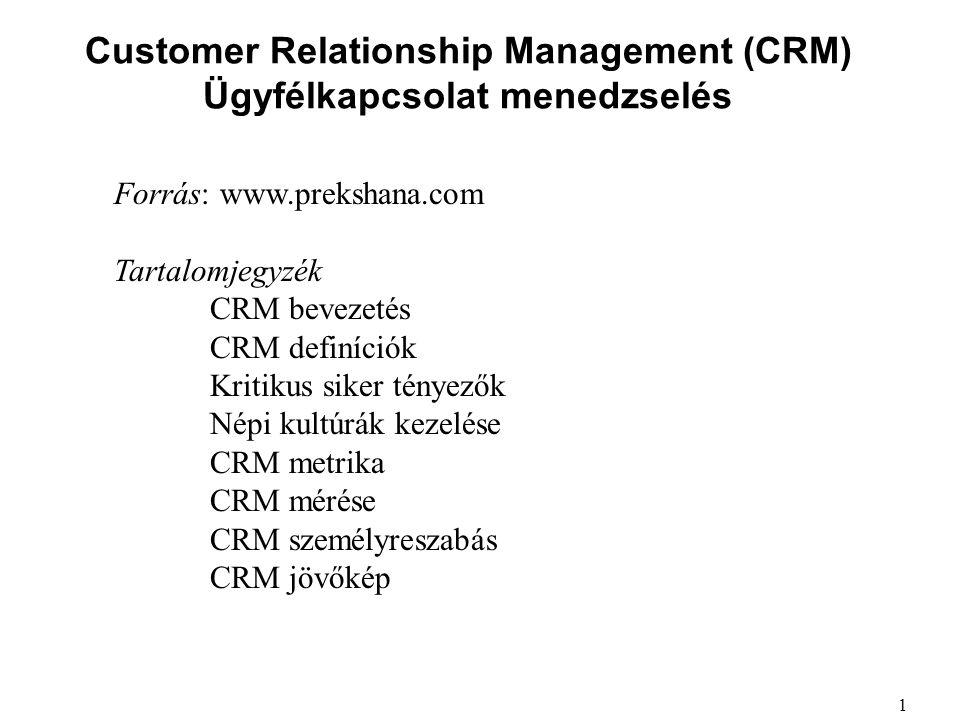 Customer Relationship Management (CRM) Ügyfélkapcsolat menedzselés Forrás: www.prekshana.com Tartalomjegyzék CRM bevezetés CRM definíciók Kritikus sik