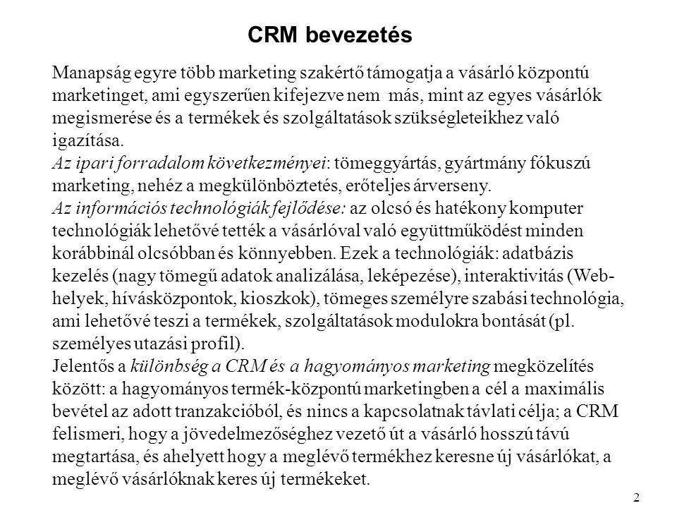 CRM bevezetés Manapság egyre több marketing szakértő támogatja a vásárló központú marketinget, ami egyszerűen kifejezve nem más, mint az egyes vásárló