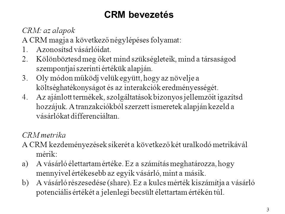 CRM bevezetés CRM: az alapok A CRM magja a következő négylépéses folyamat: 1.Azonosítsd vásárlóidat. 2.Kölönböztesd meg őket mind szükségleteik, mind