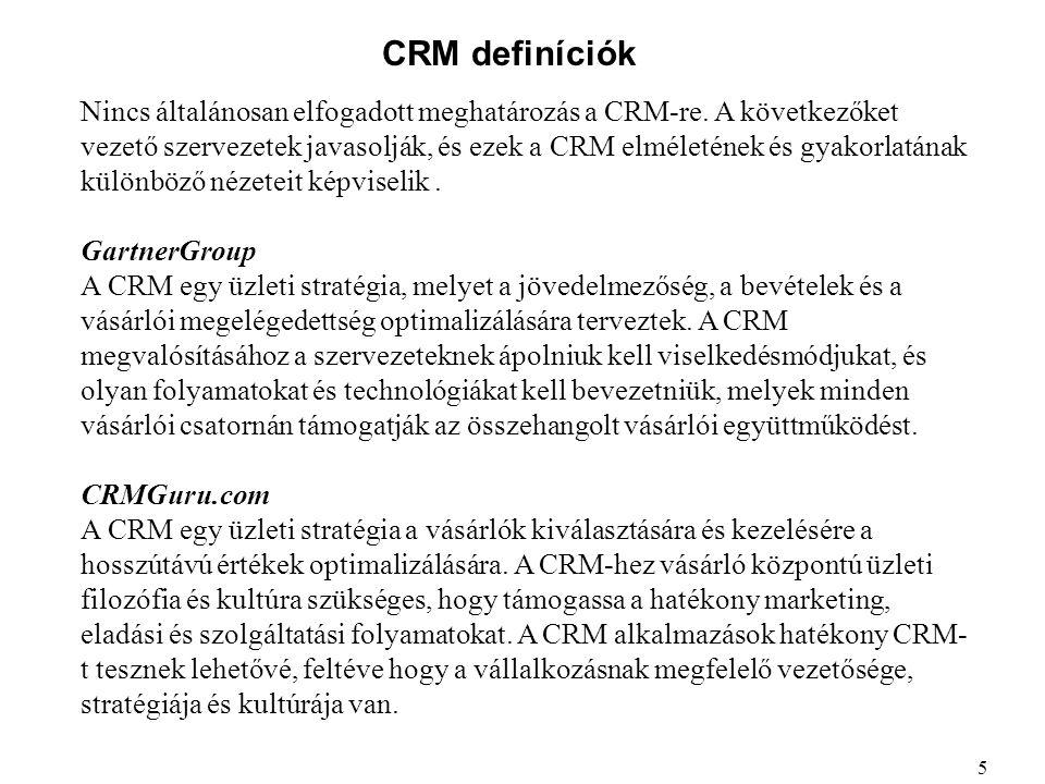 CRM definíciók Nincs általánosan elfogadott meghatározás a CRM-re. A következőket vezető szervezetek javasolják, és ezek a CRM elméletének és gyakorla