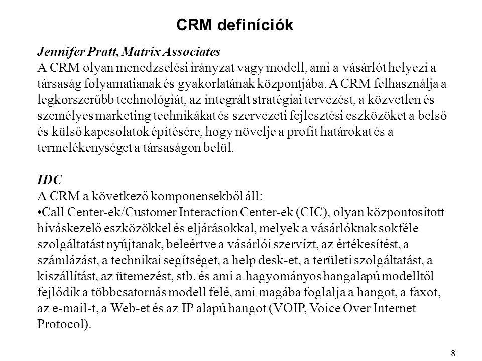 CRM definíciók Marketing automatizálás, a marketing tevékenység automatizálására használt front-office szoftverrel, beleértve a vásárlói adatok rendszerezését és gyűjtését, a kampányok menedzselését és elemzését, az adatbázis marketinget, és a marketing személyreszabását, és ami telefon vagy Web alapú is lehet.
