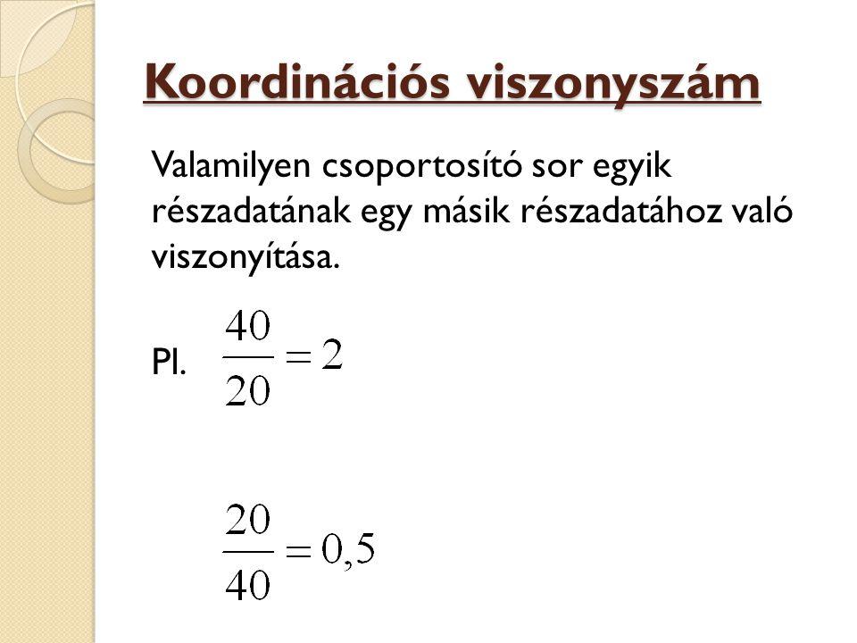 Koordinációs viszonyszám Valamilyen csoportosító sor egyik részadatának egy másik részadatához való viszonyítása. Pl.