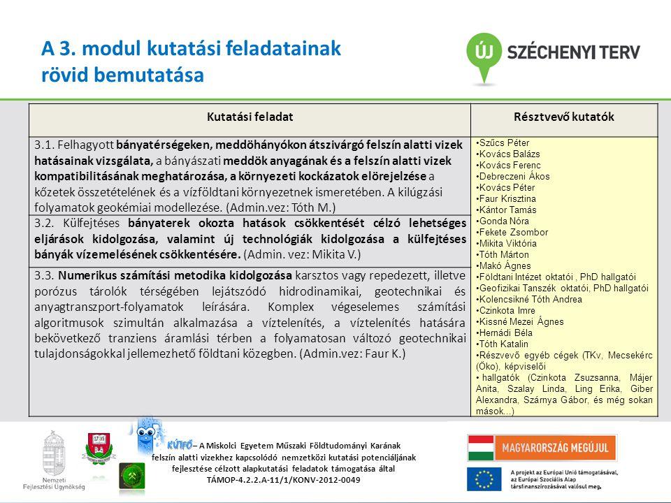 """""""A Miskolci Egyetemen működő tudományos képzési műhelyek összehangolt minőségi fejlesztése TÁMOP-4.2.2/B-10/1-2010-0008 KÚTFŐ KÚTFŐ – A Miskolci Egyetem Műszaki Földtudományi Karának felszín alatti vizekhez kapcsolódó nemzetközi kutatási potenciáljának fejlesztése célzott alapkutatási feladatok támogatása által TÁMOP-4.2.2.A-11/1/KONV-2012-0049 A 3."""