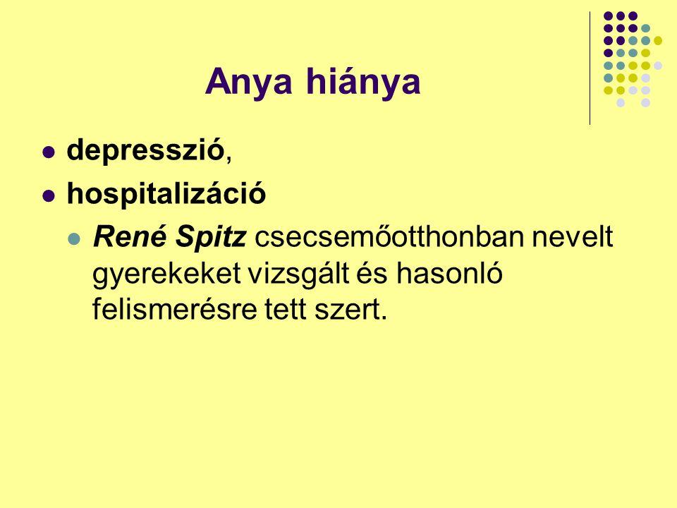 Anya hiánya depresszió, hospitalizáció René Spitz csecsemőotthonban nevelt gyerekeket vizsgált és hasonló felismerésre tett szert.