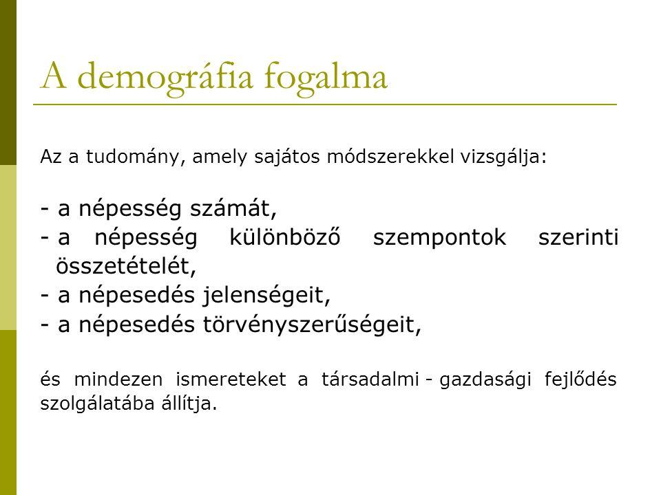 A demográfia alapfogalmai  Népesség: adott területen egy időben élő emberek összessége.