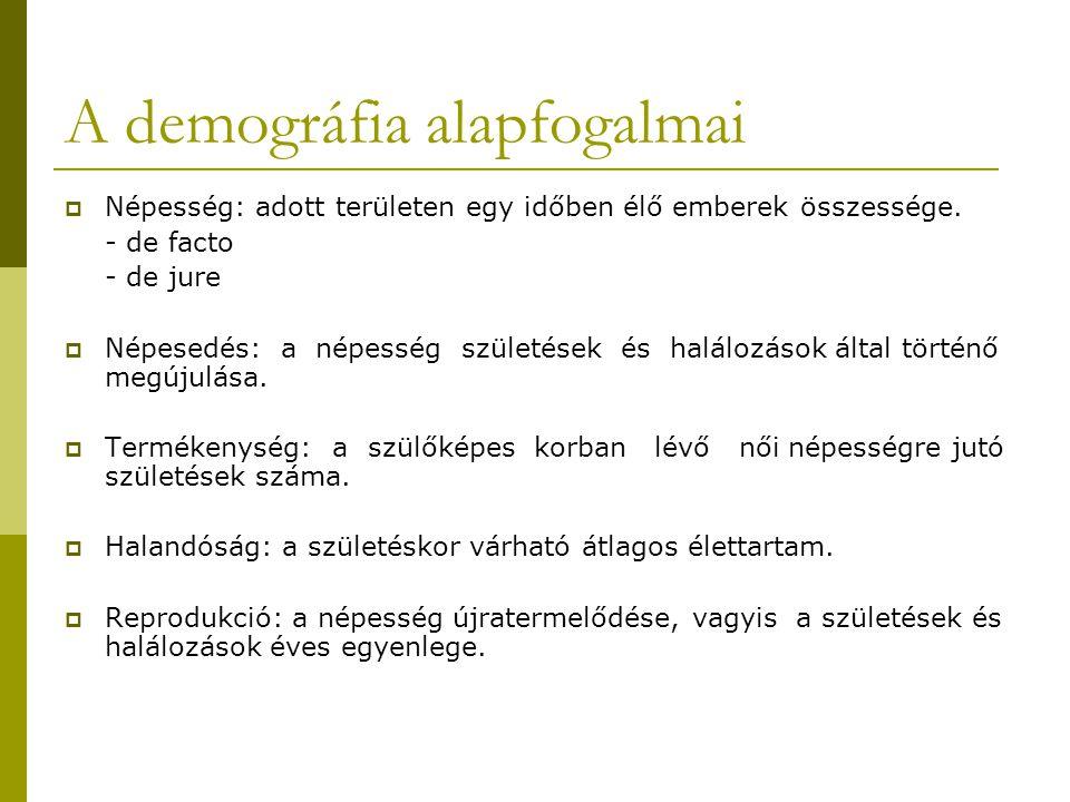 A demográfia alapfogalmai  Népesség: adott területen egy időben élő emberek összessége. - de facto - de jure  Népesedés: a népesség születések és ha