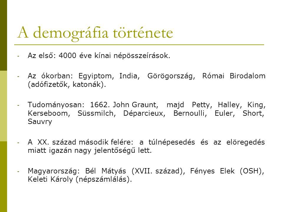 A demográfia története - Az első: 4000 éve kínai népösszeírások. - Az ókorban: Egyiptom, India, Görögország, Római Birodalom (adófizetők, katonák). -