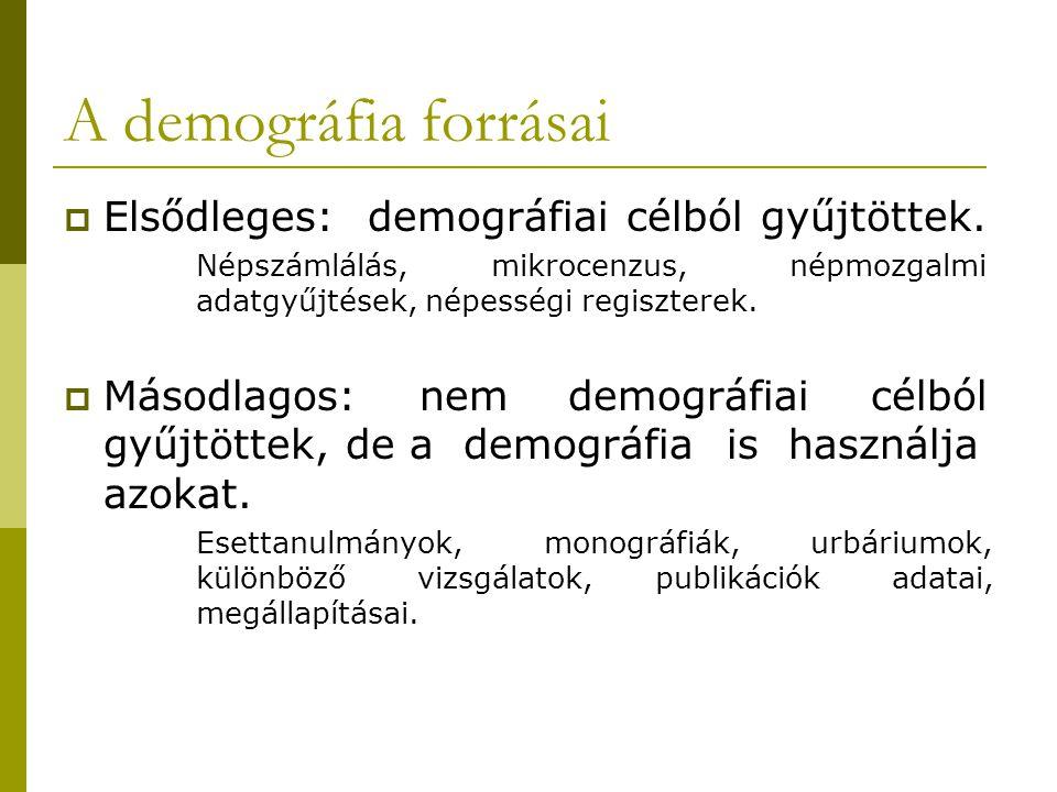 A demográfia forrásai  Elsődleges: demográfiai célból gyűjtöttek. Népszámlálás, mikrocenzus, népmozgalmi adatgyűjtések, népességi regiszterek.  Máso