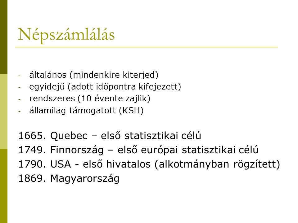 Népszámlálás - általános (mindenkire kiterjed) - egyidejű (adott időpontra kifejezett) - rendszeres (10 évente zajlik) - államilag támogatott (KSH) 16