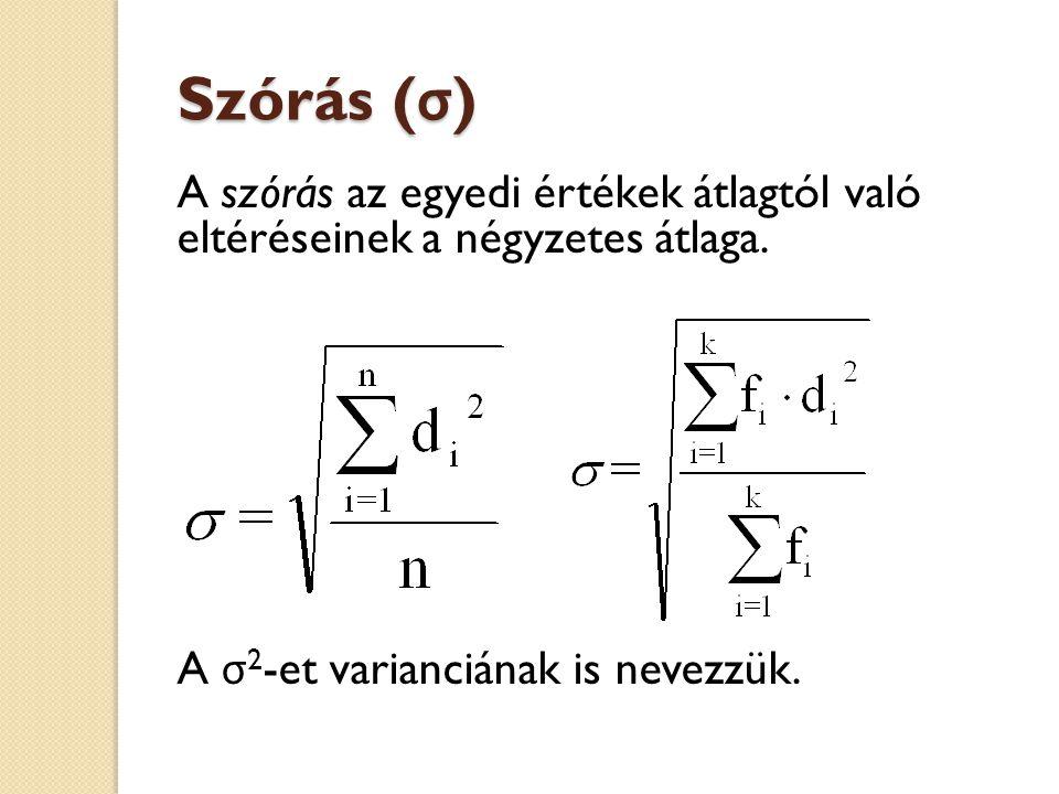 Szórás ( σ ) A szórás az egyedi értékek átlagtól való eltéréseinek a négyzetes átlaga. A σ 2 -et varianciának is nevezzük.