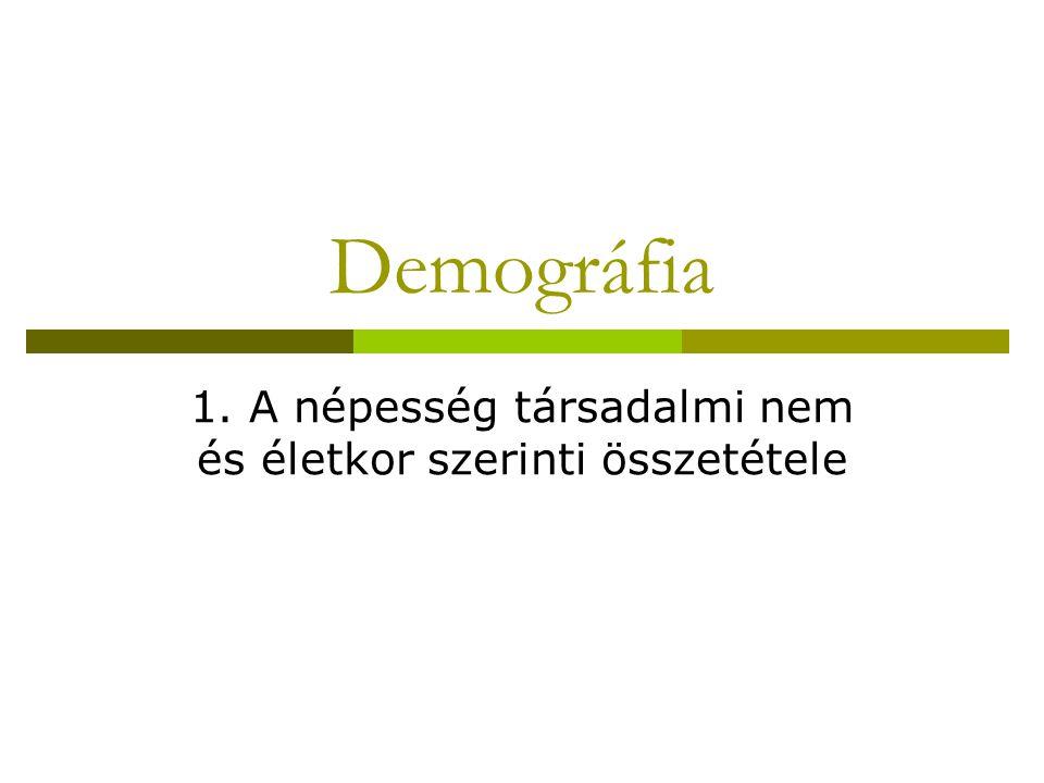 Demográfia 1. A népesség társadalmi nem és életkor szerinti összetétele