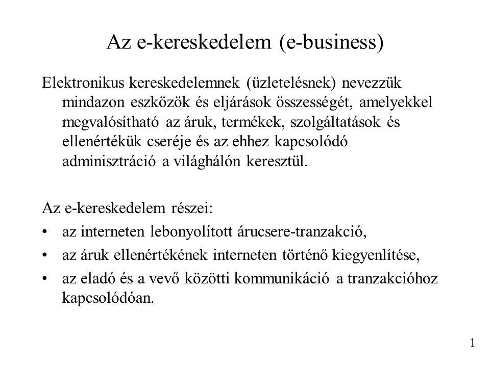 Az e-kereskedelem (e-business) Elektronikus kereskedelemnek (üzletelésnek) nevezzük mindazon eszközök és eljárások összességét, amelyekkel megvalósíth