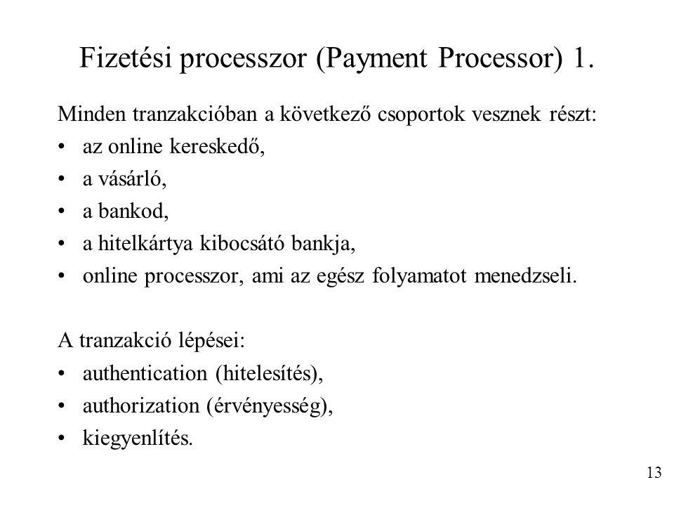 Fizetési processzor (Payment Processor) 1. Minden tranzakcióban a következő csoportok vesznek részt: az online kereskedő, a vásárló, a bankod, a hitel