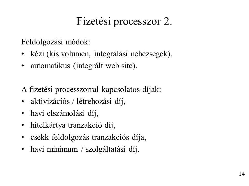 Fizetési processzor 2. Feldolgozási módok: kézi (kis volumen, integrálási nehézségek), automatikus (integrált web site). A fizetési processzorral kapc