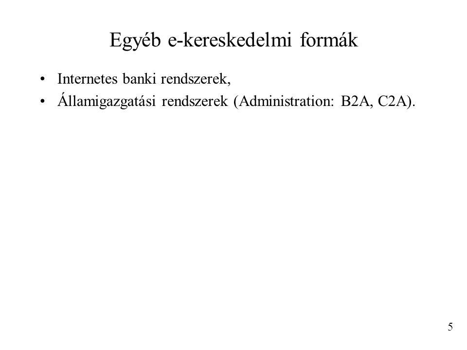 Egyéb e-kereskedelmi formák Internetes banki rendszerek, Államigazgatási rendszerek (Administration: B2A, C2A).