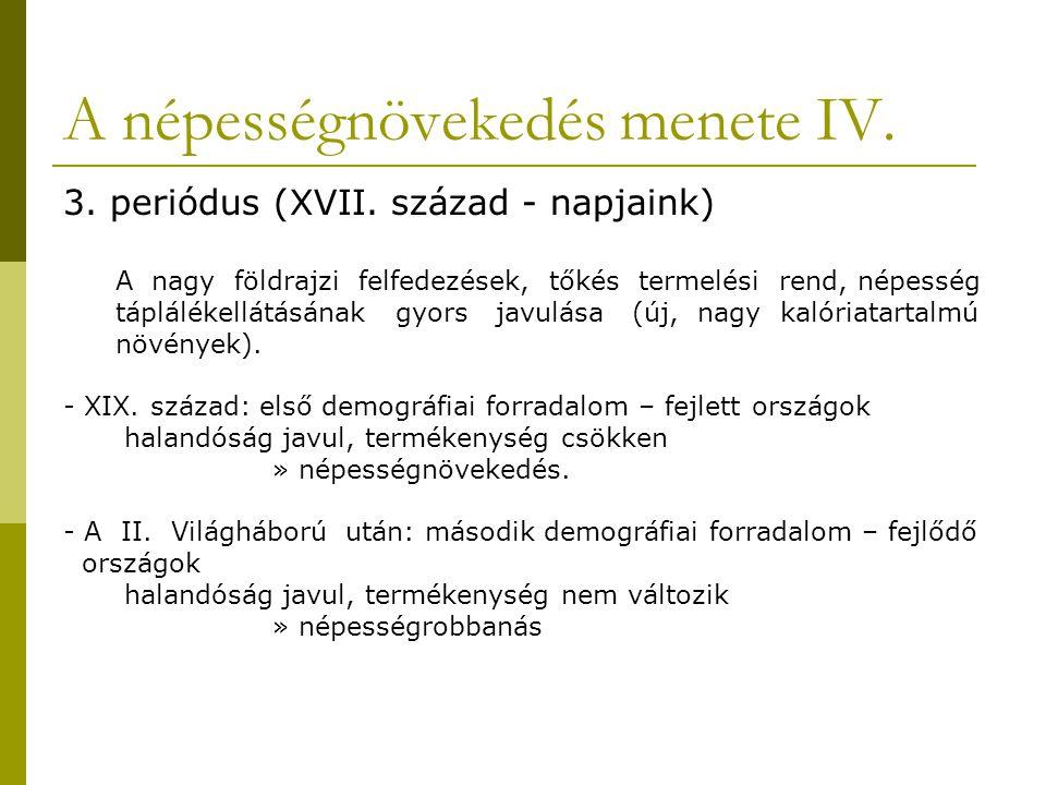 A népességnövekedés menete IV.3. periódus (XVII.