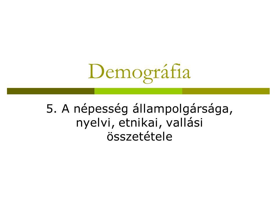 Demográfia 5. A népesség állampolgársága, nyelvi, etnikai, vallási összetétele