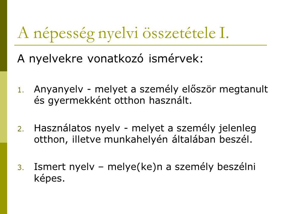 A népesség nyelvi összetétele I.A nyelvekre vonatkozó ismérvek: 1.