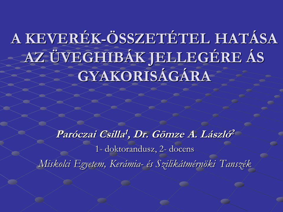 A KEVERÉK-ÖSSZETÉTEL HATÁSA AZ ÜVEGHIBÁK JELLEGÉRE ÁS GYAKORISÁGÁRA Paróczai Csilla 1, Dr. Gömze A. László 2 1- doktorandusz, 2- docens Miskolci Egyet