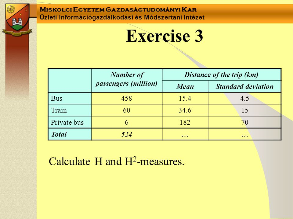 Miskolci Egyetem Gazdaságtudományi Kar Üzleti Információgazdálkodási és Módszertani Intézet Exercise 3 Calculate H and H 2 -measures. Number of passen