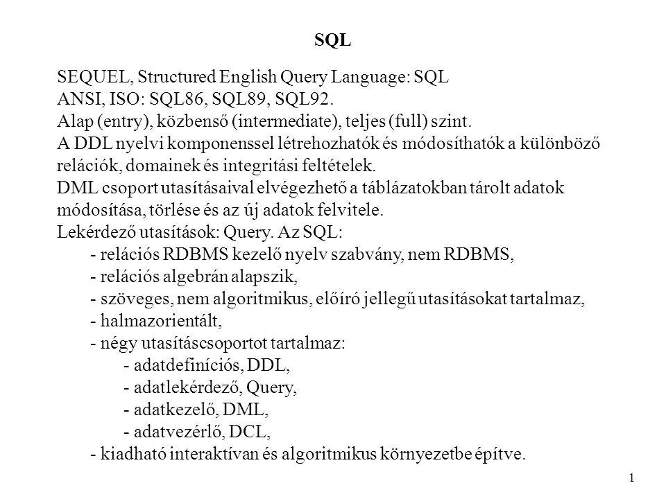 SQL SELECT 12 SELECT * FROM auto WHERE szin<> piros ; TUL RSZ TIP SZIN EVJ AR ------------------------------------------------- 1 bkx-720 Opel bordo 1991 1000000 2 aaa-156 Trabi feher 1985 100000 3 lui-999 Opel kek 1991 450000 1 kjs-234 Lada kek 1989 275000 SELECT * FROM ember WHERE szulev BETWEEN 1975 AND 1980; ID NEV SZULEV CIM --------------------------------------- 1 Bela 1975 Budapest 2 Geza 1979 Miskolc