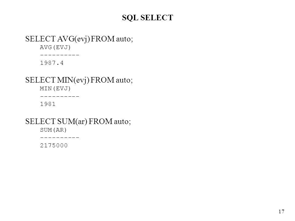 SQL SELECT 17 SELECT AVG(evj) FROM auto; AVG(EVJ) ---------- 1987.4 SELECT MIN(evj) FROM auto; MIN(EVJ) ---------- 1981 SELECT SUM(ar) FROM auto; SUM(