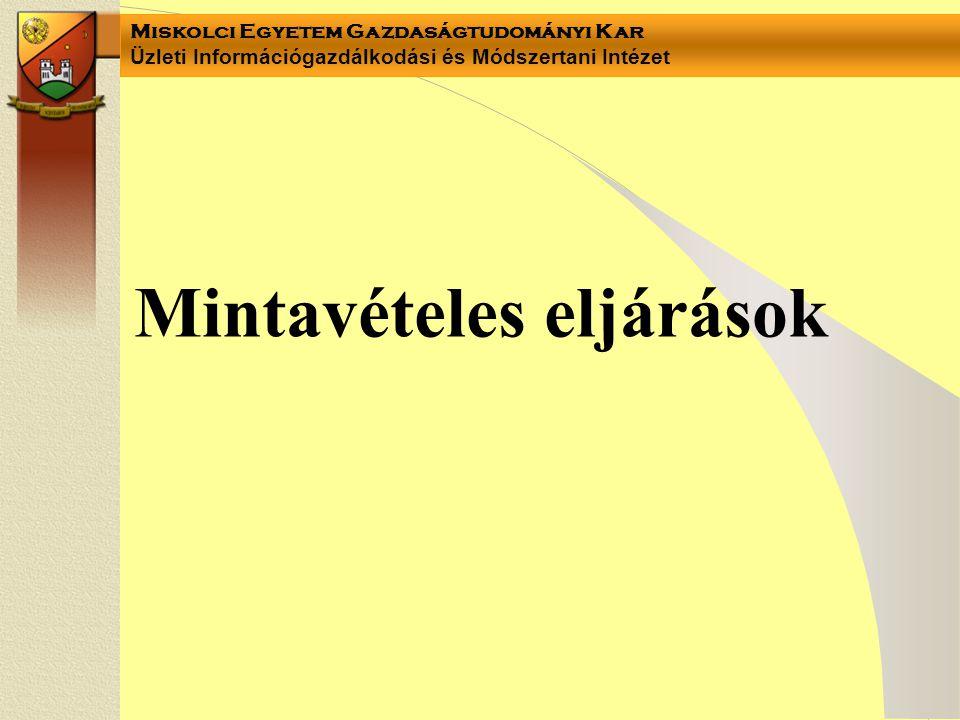Miskolci Egyetem Gazdaságtudományi Kar Üzleti Információgazdálkodási és Módszertani Intézet Mintavételes eljárások