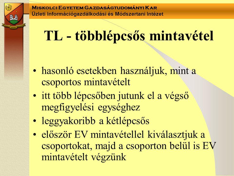 Miskolci Egyetem Gazdaságtudományi Kar Üzleti Információgazdálkodási és Módszertani Intézet TL - többlépcsős mintavétel hasonló esetekben használjuk,