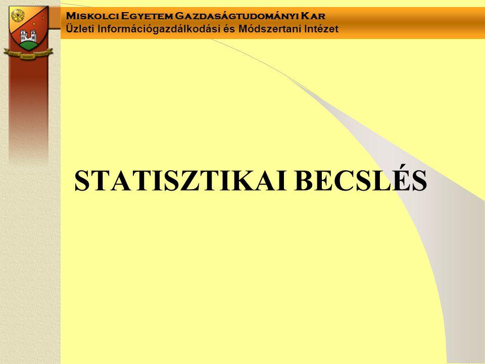 Miskolci Egyetem Gazdaságtudományi Kar Üzleti Információgazdálkodási és Módszertani Intézet STATISZTIKAI BECSLÉS