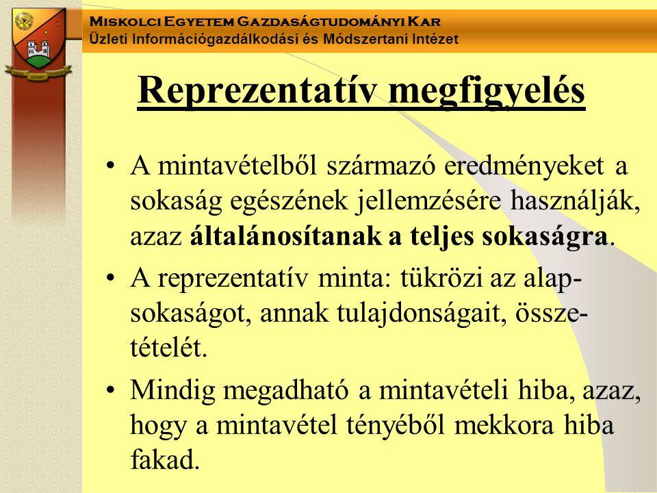 Miskolci Egyetem Gazdaságtudományi Kar Üzleti Információgazdálkodási és Módszertani Intézet Reprezentatív megfigyelés A mintavételből származó eredmén