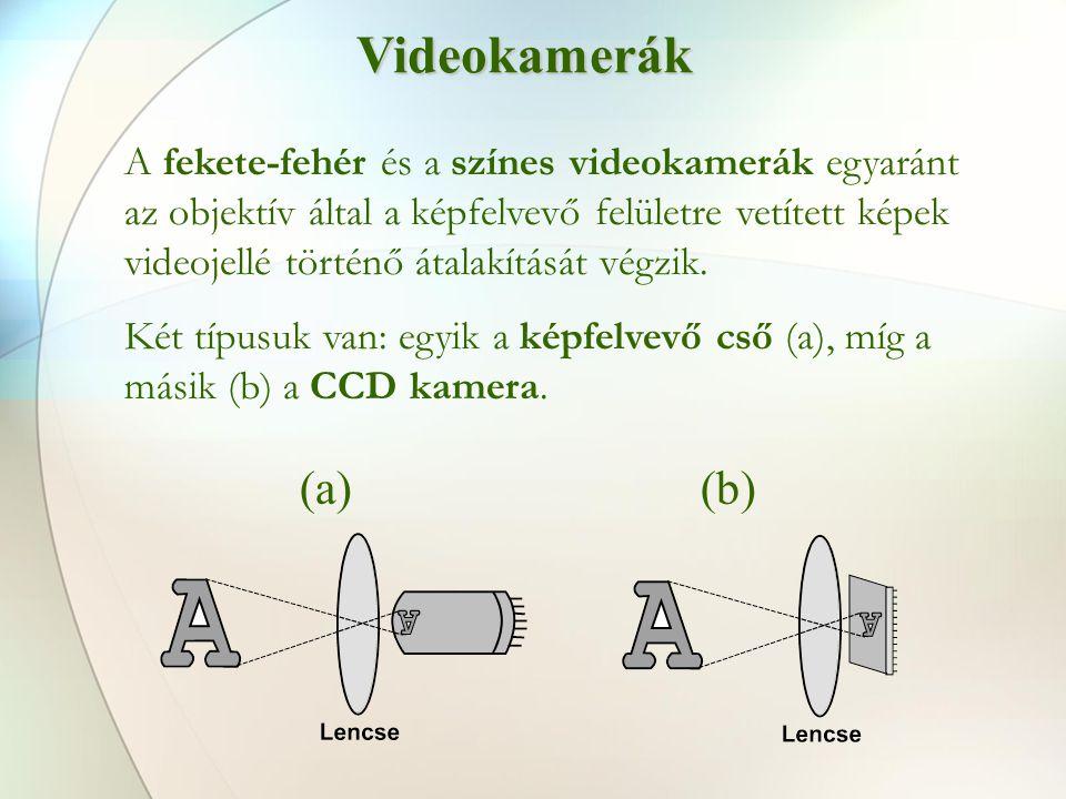 Videokamerák A fekete-fehér és a színes videokamerák egyaránt az objektív által a képfelvevő felületre vetített képek videojellé történő átalakítását