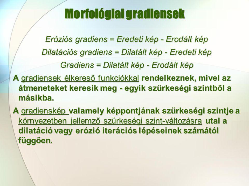 Morfológiai gradiensek Eróziós gradiens = Eredeti kép - Erodált kép Dilatációs gradiens = Dilatált kép - Eredeti kép Gradiens = Dilatált kép - Erodált
