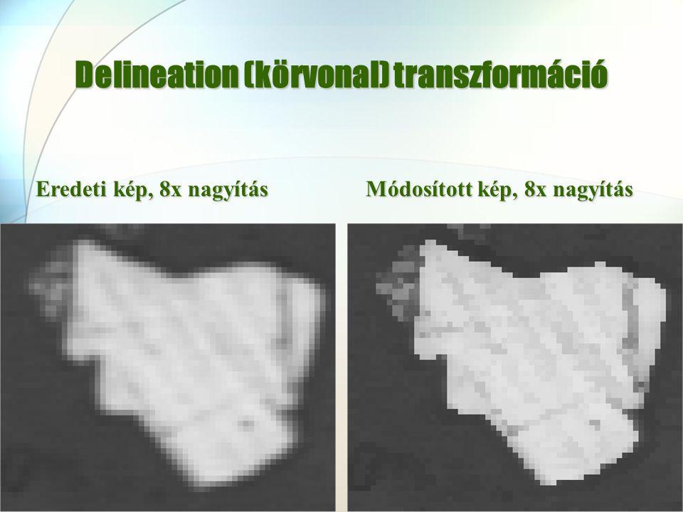 Delineation (körvonal) transzformáció Eredeti kép, 8x nagyítás Módosított kép, 8x nagyítás