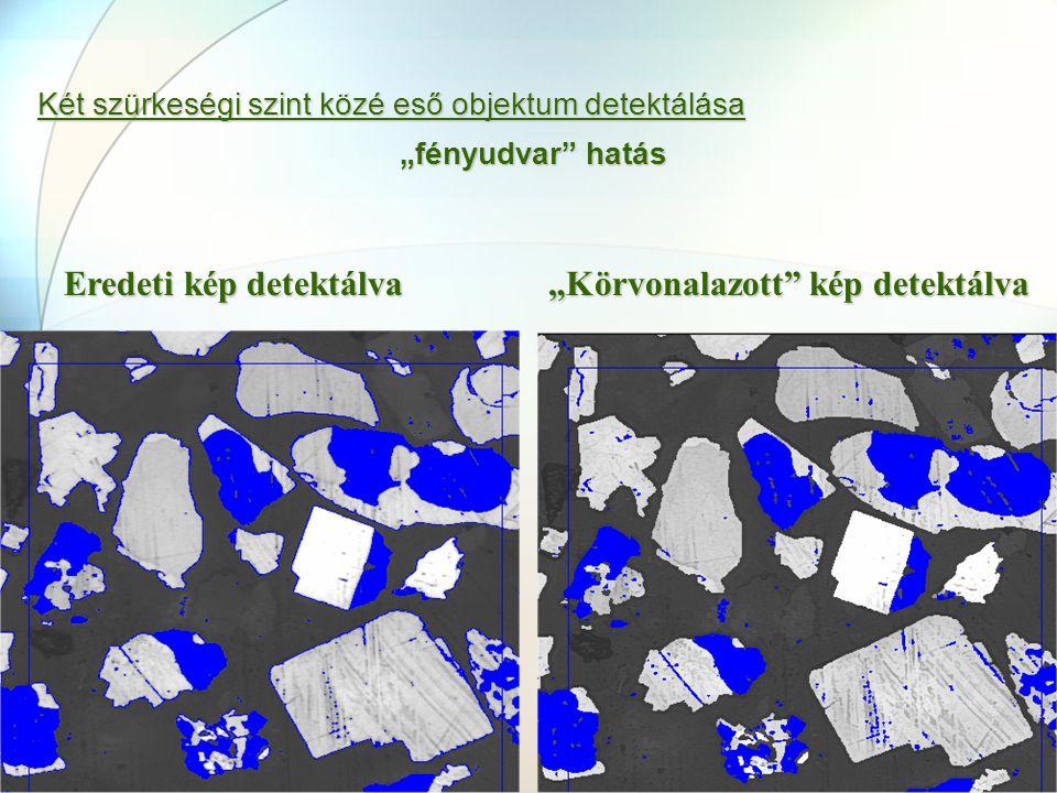 """Két szürkeségi szint közé eső objektum detektálása """"fényudvar"""" hatás Eredeti kép detektálva """"Körvonalazott"""" kép detektálva"""