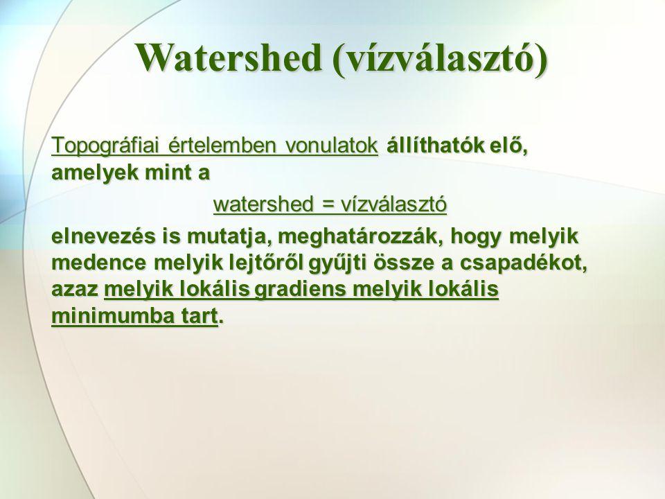 Topográfiai értelemben vonulatok állíthatók elő, amelyek mint a watershed = vízválasztó elnevezés is mutatja, meghatározzák, hogy melyik medence melyi