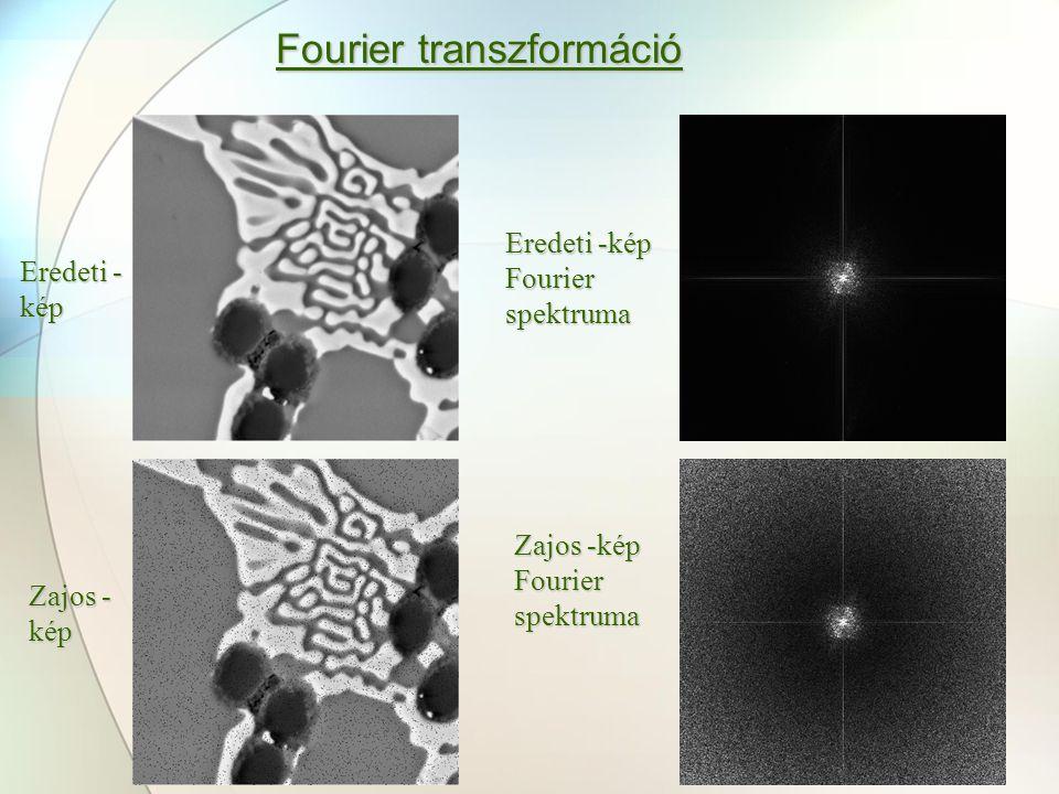 Fourier transzformáció Eredeti - kép Zajos - kép Eredeti -kép Fourier spektruma Zajos -kép Fourier spektruma