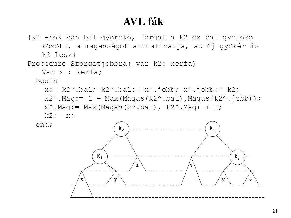 AVL fák {k2 –nek van bal gyereke, forgat a k2 és bal gyereke között, a magasságot aktualizálja, az új gyökér is k2 lesz} Procedure Sforgatjobbra( var k2: kerfa) Var x : kerfa; Begin x:= k2^.bal; k2^.bal:= x^.jobb; x^.jobb:= k2; k2^.Mag:= 1 + Max(Magas(k2^.bal),Magas(k2^.jobb)); x^.Mag:= Max(Magas(x^.bal), k2^.Mag) + 1; k2:= x; end; 21 k2k2 k2k2 k1k1 k1k1 y x xy z z
