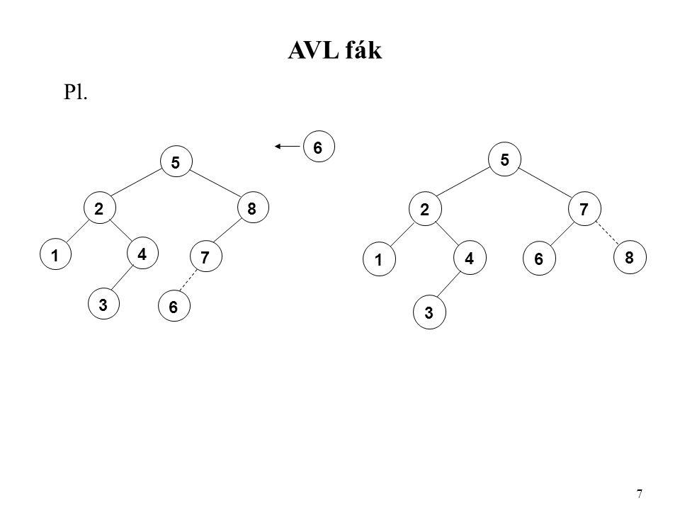 AVL fák Pl. 7 5 8 2 4 1 3 7 6 6 5 7 2 4 1 3 8 6
