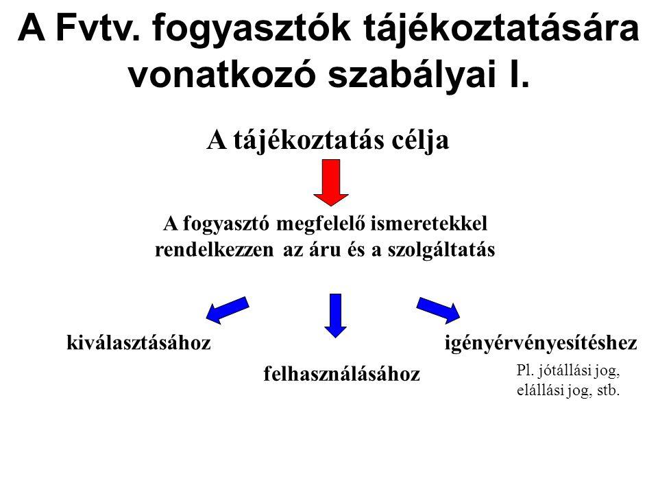 A Fvtv.fogyasztók tájékoztatására vonatkozó szabályai I.