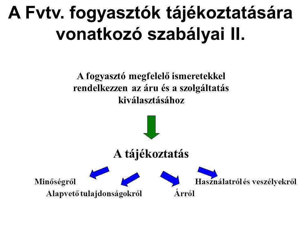 A Fvtv.fogyasztók tájékoztatására vonatkozó szabályai II.