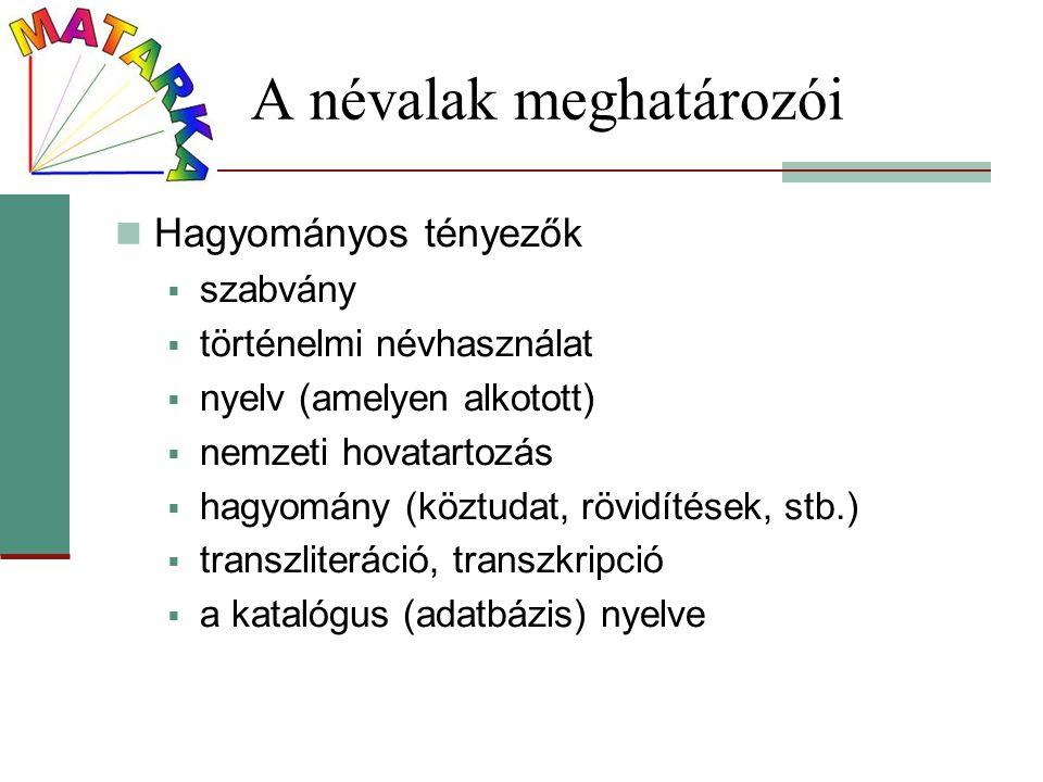 A névalak meghatározói Hagyományos tényezők  szabvány  történelmi névhasználat  nyelv (amelyen alkotott)  nemzeti hovatartozás  hagyomány (köztud