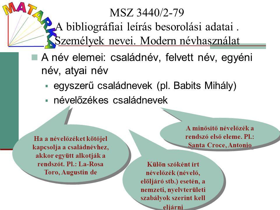 MSZ 3440/2-79 A bibliográfiai leírás besorolási adatai. Személyek nevei. Modern névhasználat A név elemei: családnév, felvett név, egyéni név, atyai n